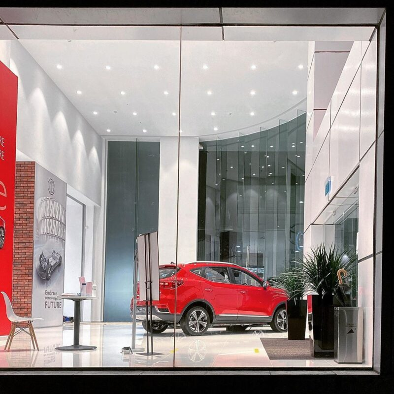 Vision Control Film installation by Rikecool at the MG Showroom Singapore